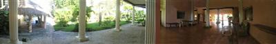 Panorama back garden + open-air hall