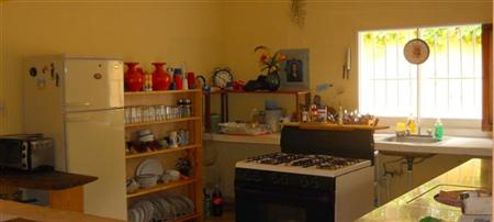 large kitchen fridge + stove